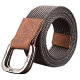 ITIEZY Herren Männer Nylon Gürtel Doppel D-ringe Metall Schnalle Belts