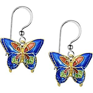 Body Candy Handcrafted Blue Cloisonne Butterfly Earrings