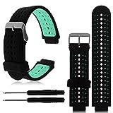 Cyond Smartwatch-Ersatzarmband, zweifarbiges Silikonarmband 215 mm, mit Schraubendreherwerkzeug, schweißabsorbierend atmungsaktiv, mehrfarbiges Armband für Garmin Forerunner 230/235/630 (Minzgrün)