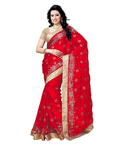 Active Feel Free Life Women'S Satin Saree With Blouse Piece (S025-Booti-Red-Ol_Red)