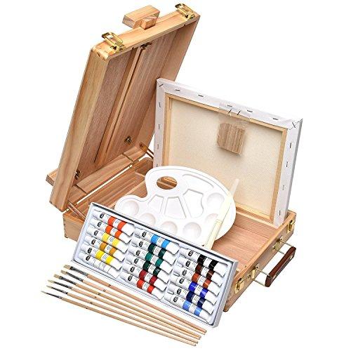 Artina Florenz set de pintura de 28 piezas caballete maletín de mesa para profis y aficionados 18 colores acrílicos, lienzos, 6 pinceles y paleta