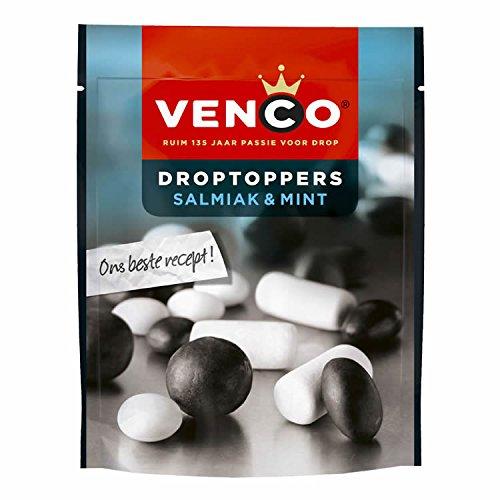 Venco Droptoppers Salmiak & Schulkreide Lakritz 255g Salzige und Süße Lakritze aus Holland (Drop Holländischen Lakritz)