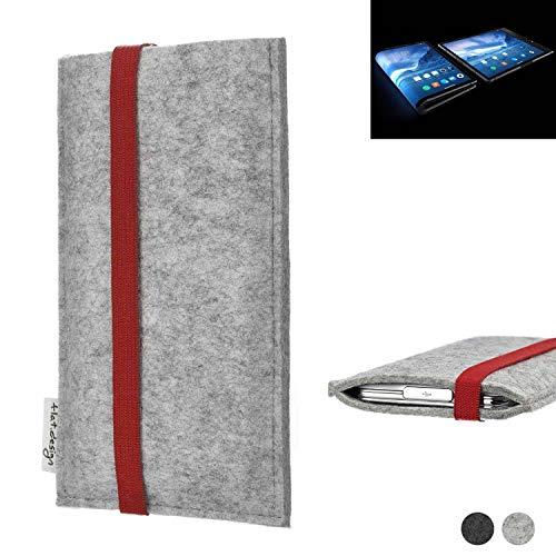 flat.design Handy Hülle Coimbra für Royole FlexPai individualisierbare Handytasche Filz Tasche rot grau