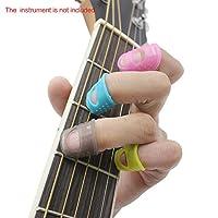 DeKaWei 5pcs/set guitarra dedos de silicona protectores de dedos para guitarra ukelele Bass Color al azar y # xFF0C; M tamaño