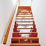 Treppenaufkleber weihnachten Verkleiden Sich Treppen Aufkleber Bärtiger Weihnachtsmann Treppen Dekorative Wandaufkleber 18CM*100CM * 13 Teile/Set
