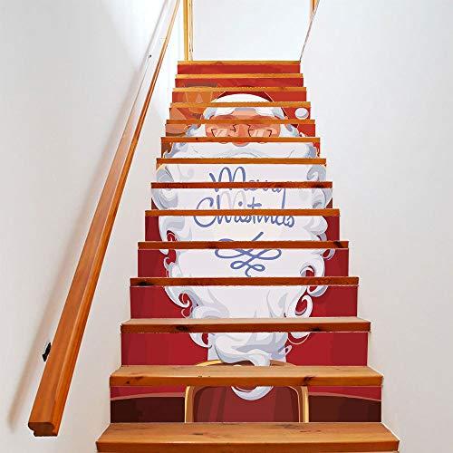 eber Weihnachten Dress Up Treppen White Hair Bart Old Stairs Dekorative Wandaufkleber (100cm*18cm) 13pcs ()