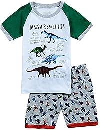 """Babygp dos conjuntos de pijama de """"dinosaurio"""" para los niños de algodón 100% (2-7 años,Pantalones de traje de manga corta)"""