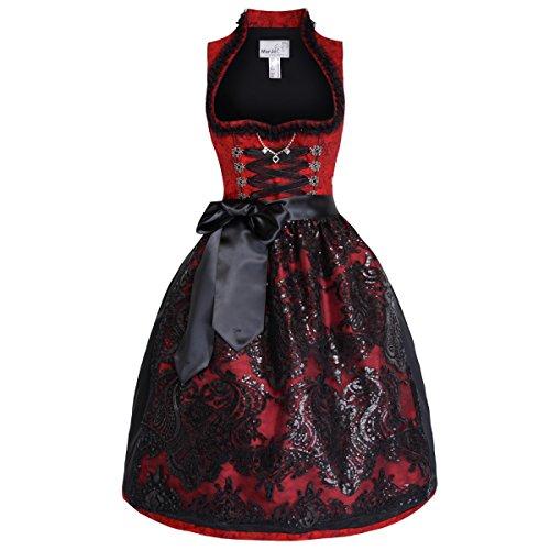 Midi Dirndl Rivera in Rot von Marjo Trachten, Größe:36;Farbe:Rot