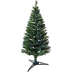 indoor LED multicolore con supporto in fibra ottica albero di Natale/Natale verde o bianco varie taglie, Green, 6' (180cm)