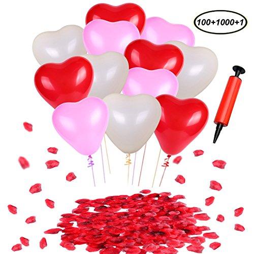 Swallowzy Luftballons mit Pumpe, Heart Shaped Latex Luftballons (100pcs) & Red Silk Rosenblätter Konfetti (1000pcs) mit Luftpumpe für Hochzeit Geburtstag Party Dekoration