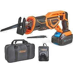 VonHaus Scie Sabre Max 20 V - Vitesse variable, Changement de lames sans outils, 2 lames à bois, Course de 22 mm - Batterie, chargeur et sac à outils inclus