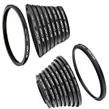 Lens Filter Adpater Ring Set,K&F Concept 18PCS Metal Lens Filter Rings 37 49 52 55 58 62 67 72 77 82mm Step Up and Down Adapter Ring 49-52 55-58 58-62 67-72 72-77 77-82 62-58 55-52 82-77