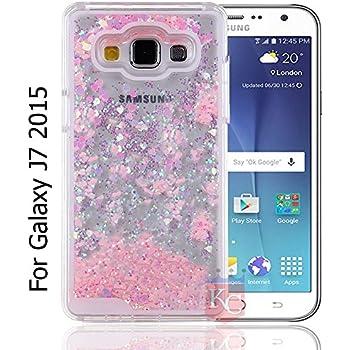 KC Flowing Liquid 3D Bling Glitter Hearts Case Transparent Soft Back Cover for Samsung Galaxy J7 2015 (J700F) – Rose Gold