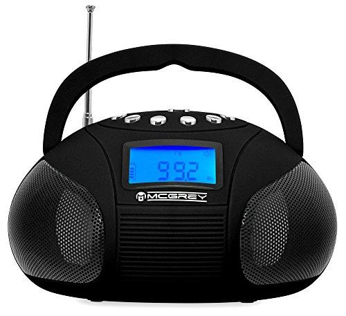 McGrey MC-50BT-BK Bluetooth Lautsprecher Akku Boombox mit Radio (USB-SD-Slot, UKW-Radio, Radiowecker, AUX-in, LCD-Display, Handy Akku, Netzteil) schwarz