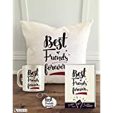 "Aldivo 12"" X 12"" Friends Theme Printed Cushion Cover With Filler + Printed Coffee Mug +Greeting Card + Printed Key Ring"