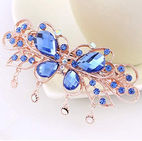 Bobopai 1 Pcs Blue Butterfly Rhinestone Hair Clip Beautiful Metal Barrette Women Lady Hair Accessories (Butterfly-2) -