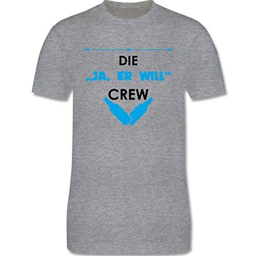 "JGA Junggesellenabschied - Die ""Ja, er will"" Crew - Herren Premium T-Shirt Grau Meliert"