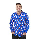 Quistal Christmas Shirt, Shirt Snowman Christmas Tree Print Long Sleeve Xmas Shirt Plus Size Tops (XL, Blue)