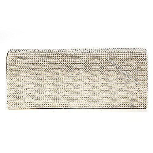 Wocharm (TM) oro argento con cristalli strass da donna party sera pochette Silver Gold