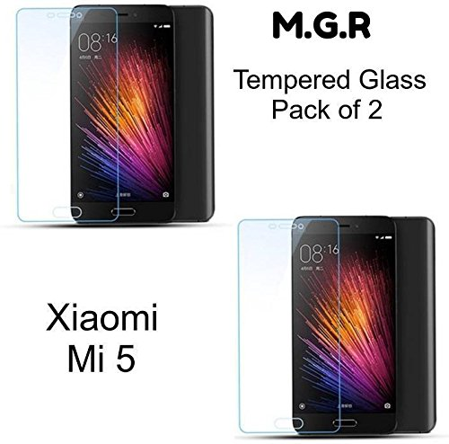 M.G.R - Xiaomi Mi 5 (2-Pack) Tempered Glass Screen Protector with 0.3mm Ultra Slim 9H Harness, 2.5D Round Edge, Crystal Clear & Alcohol wet and dry cloth pad  available at amazon for Rs.150