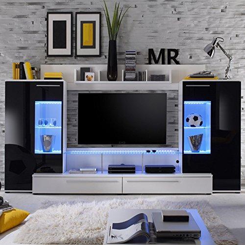 Wohnwand »FUTERA231« weiß, Glas schwarz