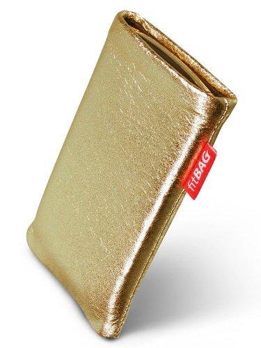 fitBAG Groove Gold Handytasche Tasche aus feinem Folienleder Echtleder mit Microfaserinnenfutter für Samsung SGH-J150