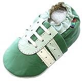 Weiche Sohle Schaf Leder Baby Kleinkind Unisex schuhe HausschuheBooties Carozoo Sneakers Blue Green White S