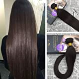 Moresoo 26Zoll/65cm Glatt Extensions Haar Verlängerung Echthaar Tressen Weaving Brasilianisch Remy Haare Weave Extensions Dunkelbraun #2 100gramm/Stück