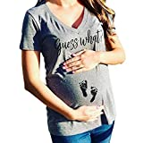 Snakell Schwangere Damen Lustig FußAbdruck Umstandsmode Schwangerschafts T-Shirt Kurzarm Umstandshirt Rundkragen Umstandstop Elastische Stillshirt Nursing Tops Baumwolle Umstandskleidung