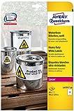 Avery Zweckform L4774-20 Wetterfeste Folien-Etiketten (A4, 80 Stück, 99,1 x 139 mm) 20 Blatt weiß