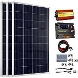 ECO-WORTHY Panneaux solaire 300 W 12 V 3 Kits - 100 W polycristallin Panneau solaire + batterie 20 A Régulateur de charge solaire intelligent Contrôleur + 1000 W Wave Off Inverter + Grille Pure sinusoïdale Câble