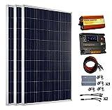 ECO-WORTHY 300 Watt 12V Sonnenkollektoren Kits: 3pcs 100W polykristalline Solarpanel + 20A Battery Regulator Charge Intelligent Controller + 1500W reine Sinus Wave Off Grid Inverter + Solarkabel