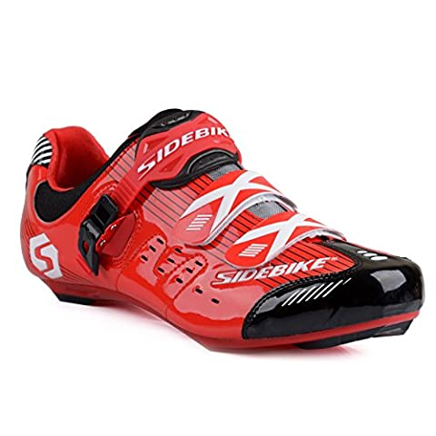 Men's Professional Breathable Road Race Cycling Shoes Road Biking Shoes UK 11 Red/Black