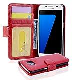Cadorabo Hülle für Samsung Galaxy S7 - Hülle in Inferno ROT – Handyhülle mit 3 Kartenfächern - Case Cover Schutzhülle Etui Tasche Book Klapp Style