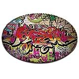 LB lila schwarz weiß Graffiti straße Wand Rutschfest maschinenwaschbar runde Fläche Teppich Wohnzimmer Schlafzimmer Badezimmer Küche weich Teppich Bodenmatte Inneneinrichtungen 120x120 cm