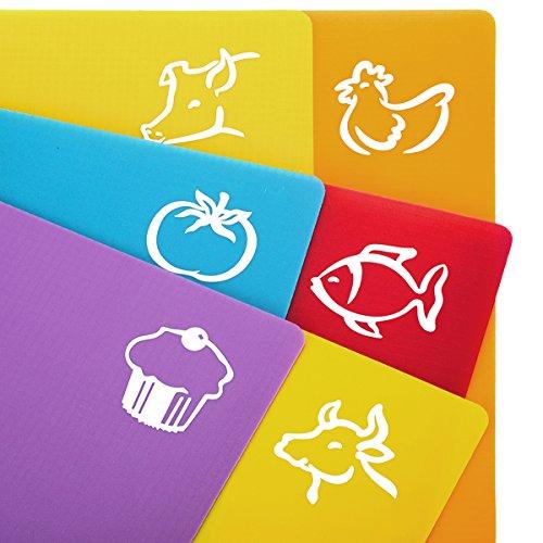 ZITFRI 6 Stk. Schneidebrett Kunststoff 38x30,5cm Flexibel Schneidebretter Set Schneidematte mit Lebensmittel Symbolen,getrennter Gebrauch für Lebensmittel wie Fisch Gemüse Geflügel Fleisch Brot und Gebäck - Spülmaschinenfest&BPA frei