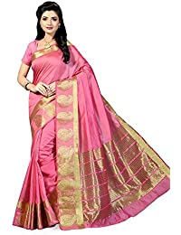 Fabwomen Sarees Zari Work Pink And Golden Coloured Kanjeevaram Silk Fashion Party Wear Women's Saree/Sari With...
