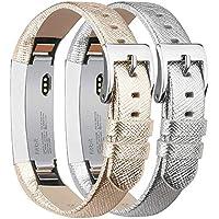 Tobfit Kompatibel mit Fitbit Alta Armband Fitbit Alta HR Armband (2 Pack) Lederarmband Edelstahl Schnalle Ersatzarmbänder für Fitbit Alta und Fitbit Alta HR (Kein Tracker)