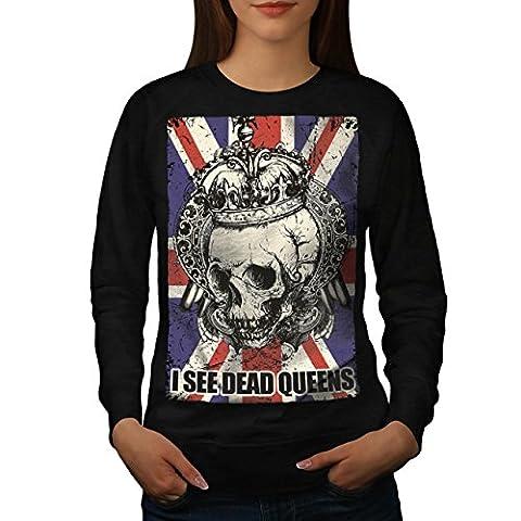Schädel Tot Königin Metall Vereinigtes Königreich Skelett Vereinigtes Königreich Damen M Sweatshirt | Wellcoda