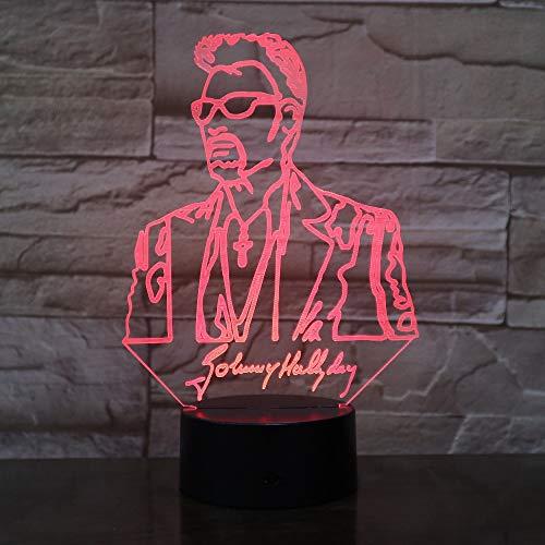 Johnny Hallyday 3D Lampe Illusion Led Usb 7 Farben Ändern Tisch Nachtlicht Baby Nachttischdekoration Led Lampe Ping