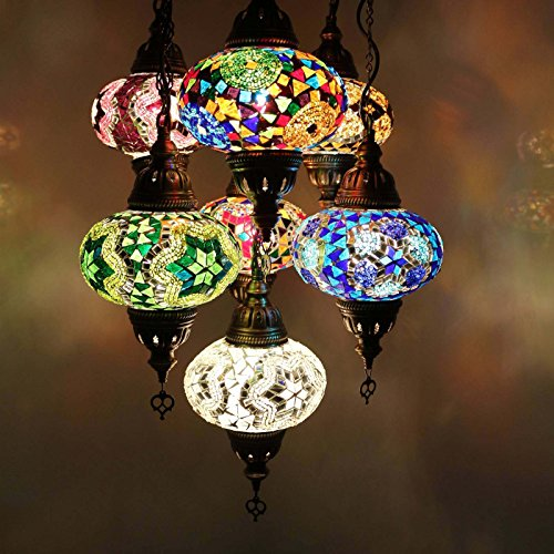 Turkish Mosaic Ceiling Chandelier Lamp Light Set, Handmade 7 Ball Lantern Globe, Ottoman Moroccan Style Hanging Pendant Lights, by TK Bazaar (SPINEL)