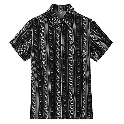 Zolimx Herrenmode Beiläufige Sommer Vintage T-Shirt Kurzarm Tops Oberteile Hemd Männer Sommer Mode Lässig Revers Print Kurzarm Shirt Top - Rich Girl Kostüm
