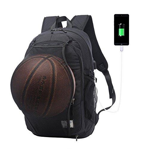 Sac à dos ordinateur portable 17/15.6 pouces avec pliable Basketball Net et port de Chargement USB Externe imperméable Sac pour/ Affaires/collège,Homm...