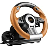 Speedlink Drift O.Z. Racing Wheel for the PC , Gear Shifter, Gas and Brake Pedals, XInput and DirectInput, Vibration Function, Adjustable Steering Sensitivity - Black-Orange