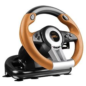 Speedlink Gaming Lenkrad für PC / Computer – DRIFT O.Z. Racing Wheel USB (Schaltknüppel, Gas- und Bremse-Pedale – Vibration, 180° Lenkbereich  – Controller für Driving Games oder andere Simulator-Spiele) schwarz/orange