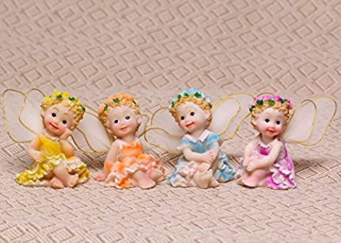 SecretRain Set de 4 PCS Miniature Fée en Résine Décoration Pour Pot de fleurs Jardin