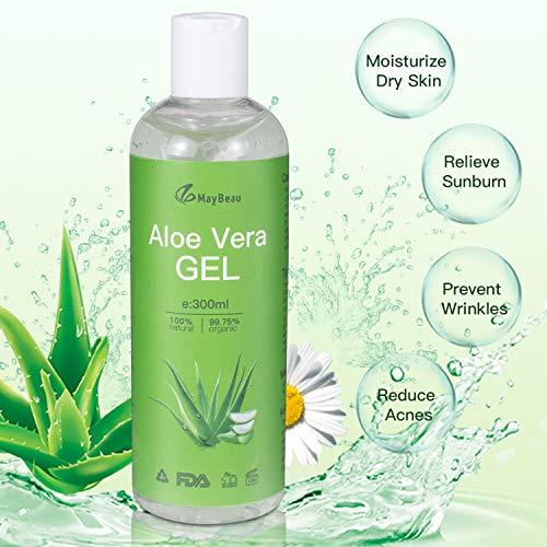 Aloe Vera Gel 300ml MayBeau 100% Bio Aloe Vera Creme für trockene, strapazierte Haut & Sonnenbrand,Natürliche Feuchtigkeitspflege für Gesicht, Haare und Körper