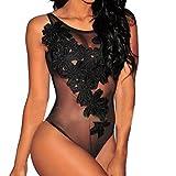 Dessous für Damen, Bodysuit von Mingfa mit Blumenmuster, Unterwäsche mit offenem Schritt, Spitze S Schwarz