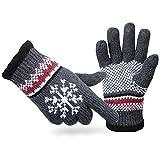 a63c70c189ded7 ANVEY Strick Handschuh unisex 100% baumwolle super warm Winterhandschuh für  weihnachten Grau