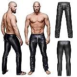 Underwear Hommes Faux Cuir Longue Pantalon Renflement Poche Jockstraps Serré Un Pantalon sous-Vêtements,S